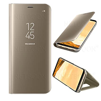 sports shoes 2ce53 ba80e NETBOON Clear View, Mirror, Sensor, Transparent, Kickstand Polycarbonate PC  Flip Cover Case for Samsung Galaxy S8 (Gold)
