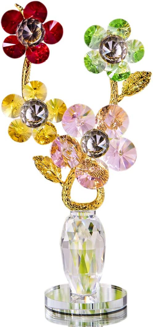 H&D HYALINE & DORA Crystal Colorful Flowers with Crystal Base Decor for Crystal Wedding