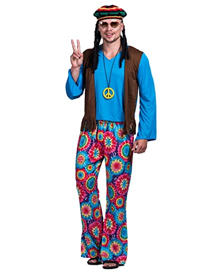 d40a98315dc6 Hippie Costume Men - Fancy Carnival Mens Vintage 70s Vest Party Hippie Clothes  Outfit for Adult: Amazon.co.uk: Clothing