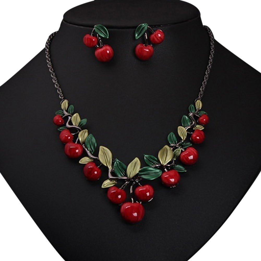 l/ég/ère et facile /à utiliser Saniswink Parure de bijoux en forme de cerise 1 ensemble de bijoux vintage en forme de cerise rouge avec collier et boucles doreilles 1 1