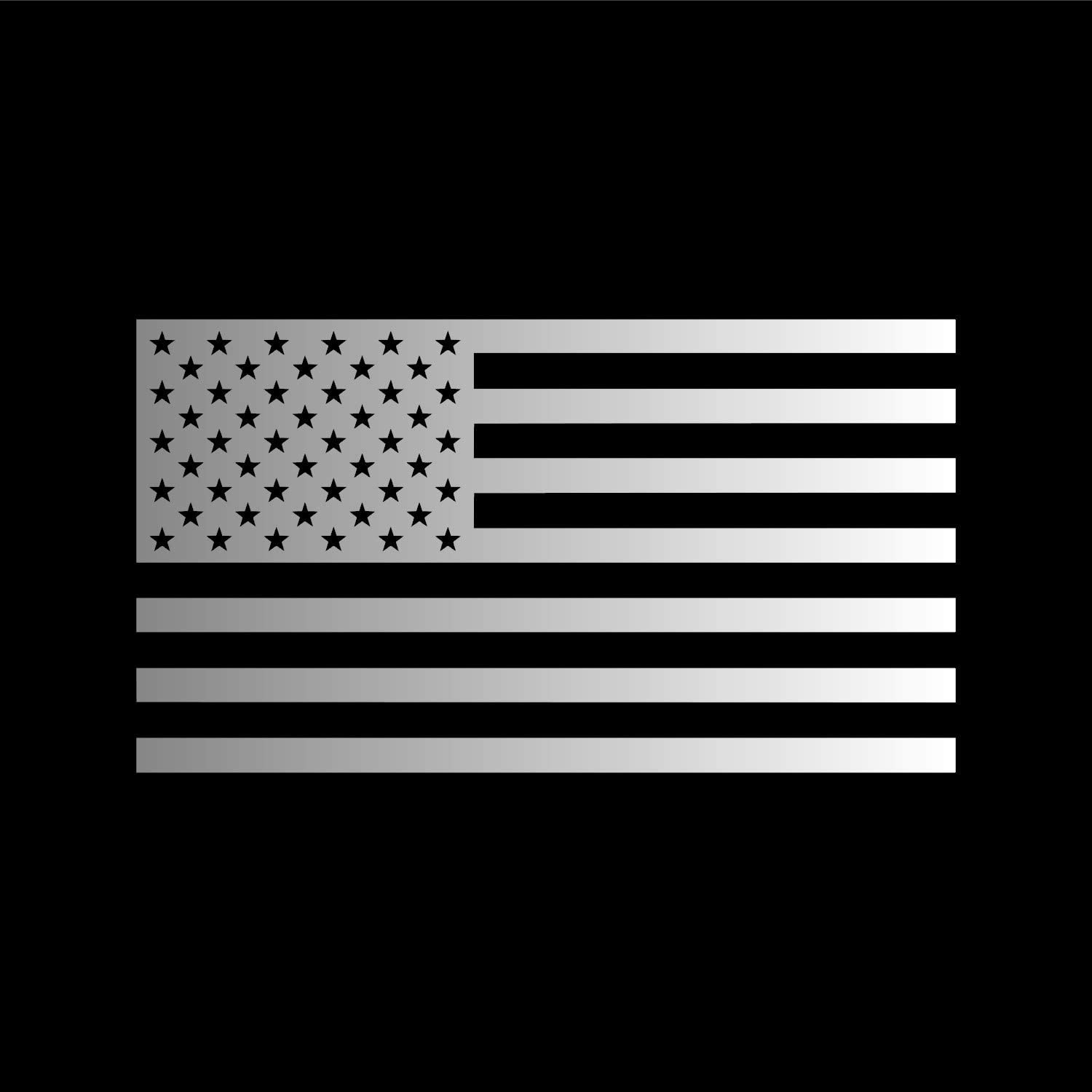 American US Flag [Pick Color/Size] Vinyl Decal Sticker for Laptop/Car/Truck/Jeep/Window/Bumper (5in x 2.8in, Metallic Silver)
