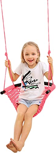 JKsmart Swing Seat for Kids Heavy Duty Rope Play Secure Children Swing Set,Perfect for Indoor,Outdoor,Playground,Home,Tree,with Snap Hooks and Swing Straps,440 lbs Capacity Pink Patent Pending