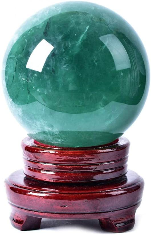 Zxb-shop Gazing Divination or Feng Shui Ball Crystal Natural Green Meditation Divination Sphere Crystal Ball with Wood Stand, 3.1 Inch (80mm) Diameter Crystal Ball (Size : 8cm)