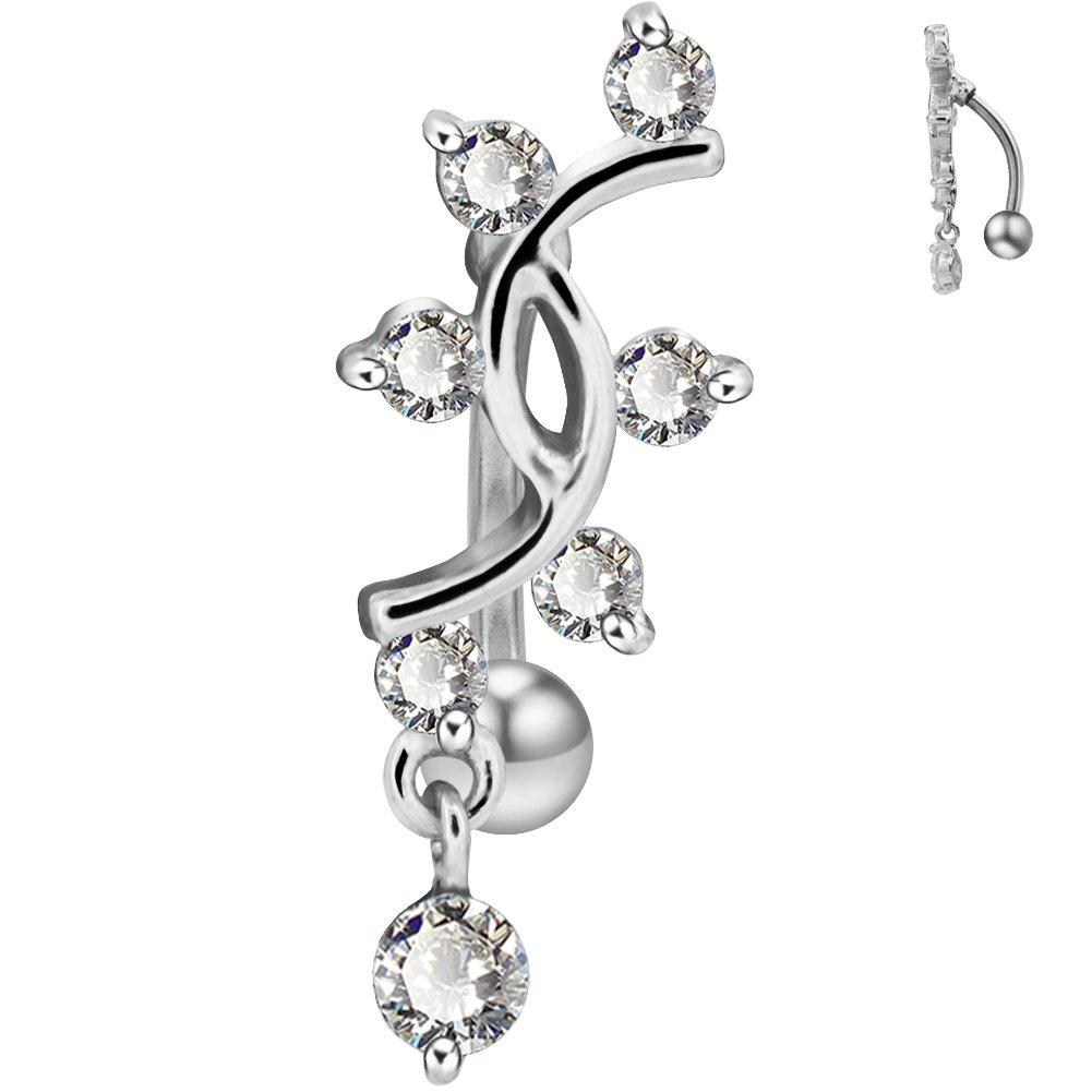COCHARM 14G Reverse Belly Button Rings Sexy Vine Dangle Navel Piercing Stainless Steel Belly Ring Jewelry(silver)