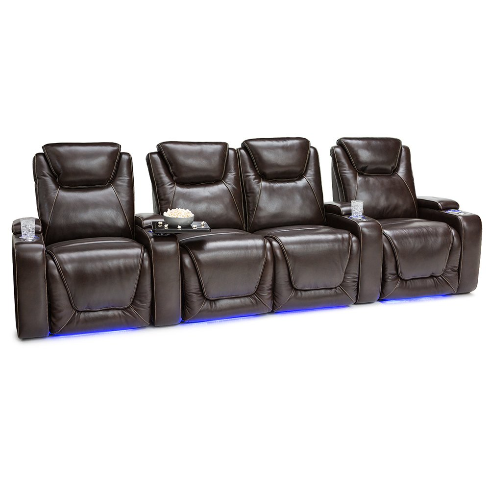 Seatcraft Equinox Home Theater Seating Power Recline Leather (Row of 4 Loveseat, Brown)