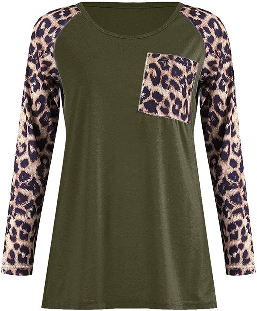 Photno Leopard Patchwork Women Long Sleeve Tunic with Pocket Casual Loose Round Neck Raglan Sleeve Blouse T Shirt Tops