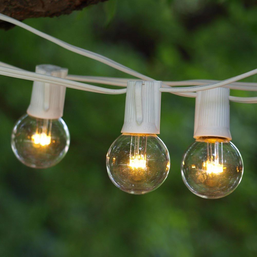 LED String Lights - 100 ft White C9 -LED G40 Premium Bulbs Warm White