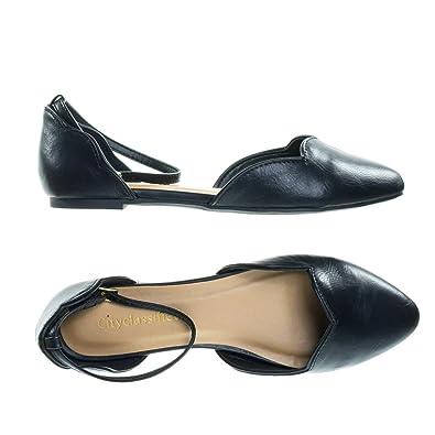 42687aead Mirai Black Scalloped Topline Trim Ballet Flat w Double Open Side D'Orsay  Shoes -
