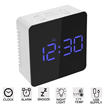 Skyllc® LED Espejo Cuadrado Reloj Multi-función Reloj Despertador Digital Personalizado Creativo Espejo Termómetro Reloj de cabecera Reloj Azul: Amazon.es: ...
