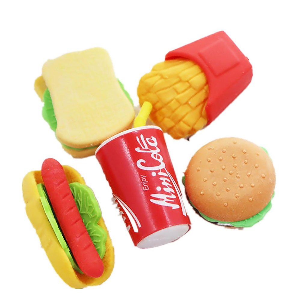 LoveInUSA Junk Food Theme Erasers Simulated Fast Food Rubber Set of 5,Cola Random Color
