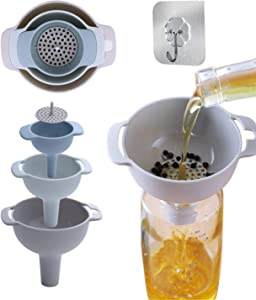 ButKungm Funnel - Kitchen Funnel Set of 3, Nested Funnels with Handle Food Grade Plastic Funnels with Detachable Strainer Filter for Transferring of Liquid, Fluid, Dry Ingredients and Powder