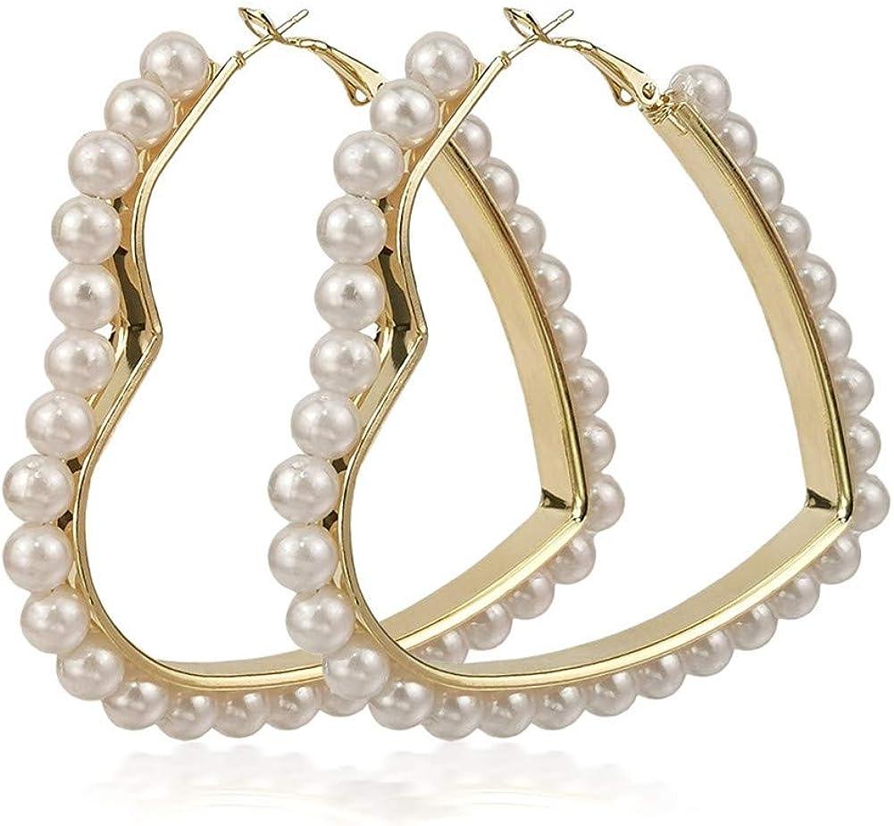 Geometric Pearl Earring Pearl Surrounded Big Drop Dangle Earring Triangle Circle Pendant Alloy Stud Earrings Women Earring Jewelry Sleek Elegant round