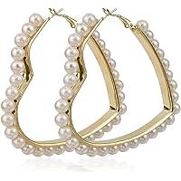 Pearl Heart Hoop Dangle Earrings Imitation Pearl Love Heart Earrings Circle Beaded Loop Drop Earrings for Women Girls…