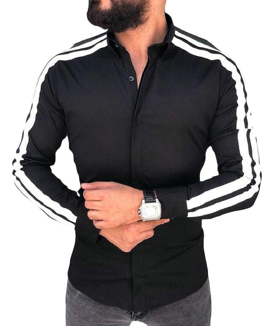 XQS Mens Shirts Long Sleeves Button Down Plain Slim Tops