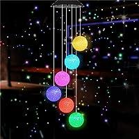 WAZA LED Luz Campanas de Viento Solar Cambio de Color LED Luces Coloridas Colgar Impermeable Iluminación Decoración para Jardín Patio Terraza Exterior al Aire Libre (Bolas)