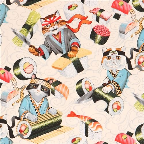 Light cream Alexander Henry fabric colorful cat sushi food Rockin Rolls (per 0.5 yard unit)