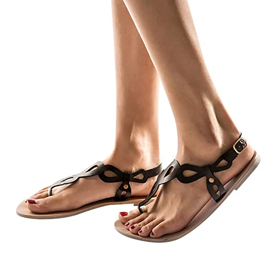 562fa652ab8d1 Amazon.com: Behkiuoda Woman Flats Summer Sandals Shoes Beach Dress ...
