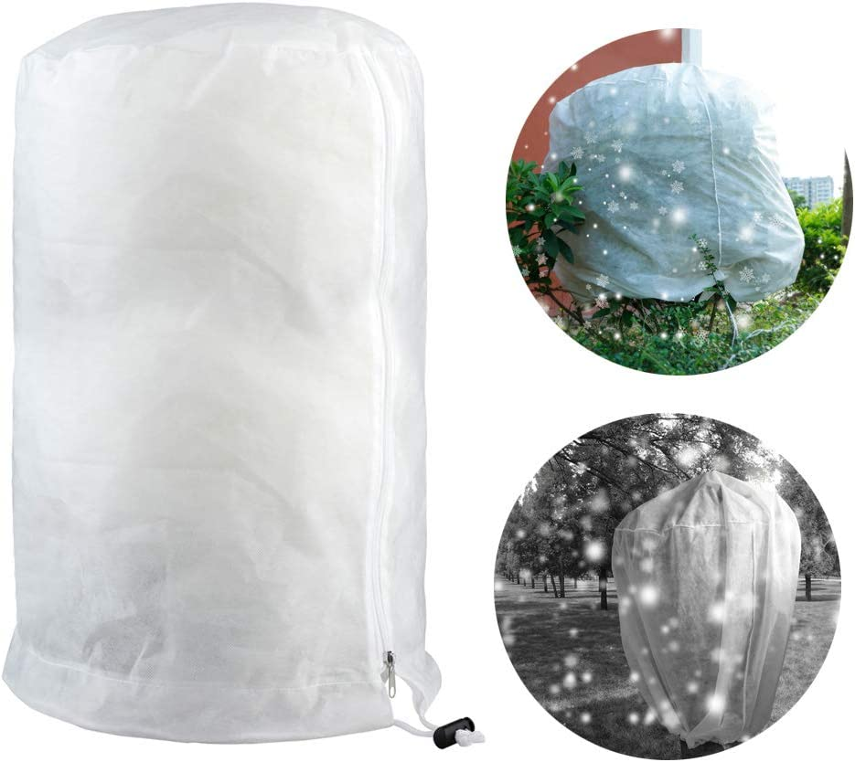 Takefuns Cylindrical Plant Freeze Protection Covers,Shrub Frost Jacket Covers with Zipper,Gardening Protecting Bag,Tree Protector Wrap for Winter