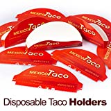 ELLTERA Disposable Taco Holder - 35 IN PACK - BONUS - Taco Recipes E-BOOK - Best For Party and Picnic - Durable Paperboard Taco Rack Is Great For Holding Even Walking Mexican Tacos