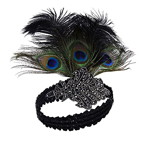 Peacock Flapper Headband (Zivyes Vintage Gatsby Peacock & Black Feather Gunmetal Crystal Sequin Headband (Black))