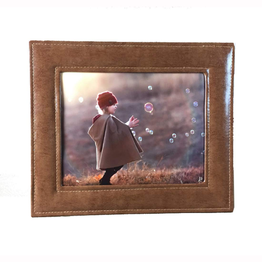 SIKOO Picture Frames 5x7 Family Baby Boys Girls Leather Photo Frame For Home Decoration, Tabletop/Desktop Vertical and Horizontal Included Brown