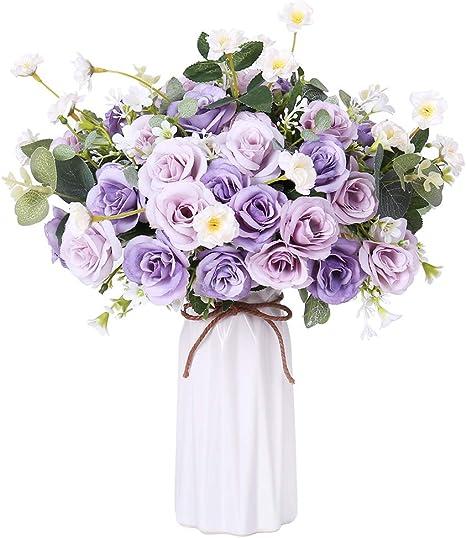 Amazon Com Fengruil Artificial Flowers With Ceramics Vase Silk Rose Flowers Arrangements Bouquet For Table Centerpiece Bridal Wedding Home Decoration Purple Home Kitchen