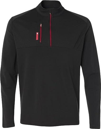 0d958e38a57a1d adidas Golf Mens Puremotion Mixed Media Quarter-Zip (A195) -Black Bold