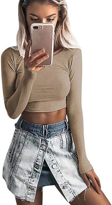 Belasdla Elegante Camisa De Manga Larga Top De Moda De La Camiseta Apretada del Cuello Redondo De Manga Larga De Las Mujeres OtoñAles: Amazon.es: Ropa y accesorios