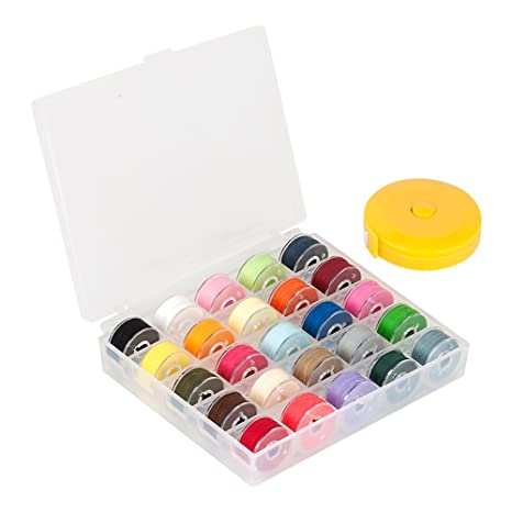 Máquina de coser bobinas, baktoons 25 pcs varios colores color prewound hilo bobinas con funda