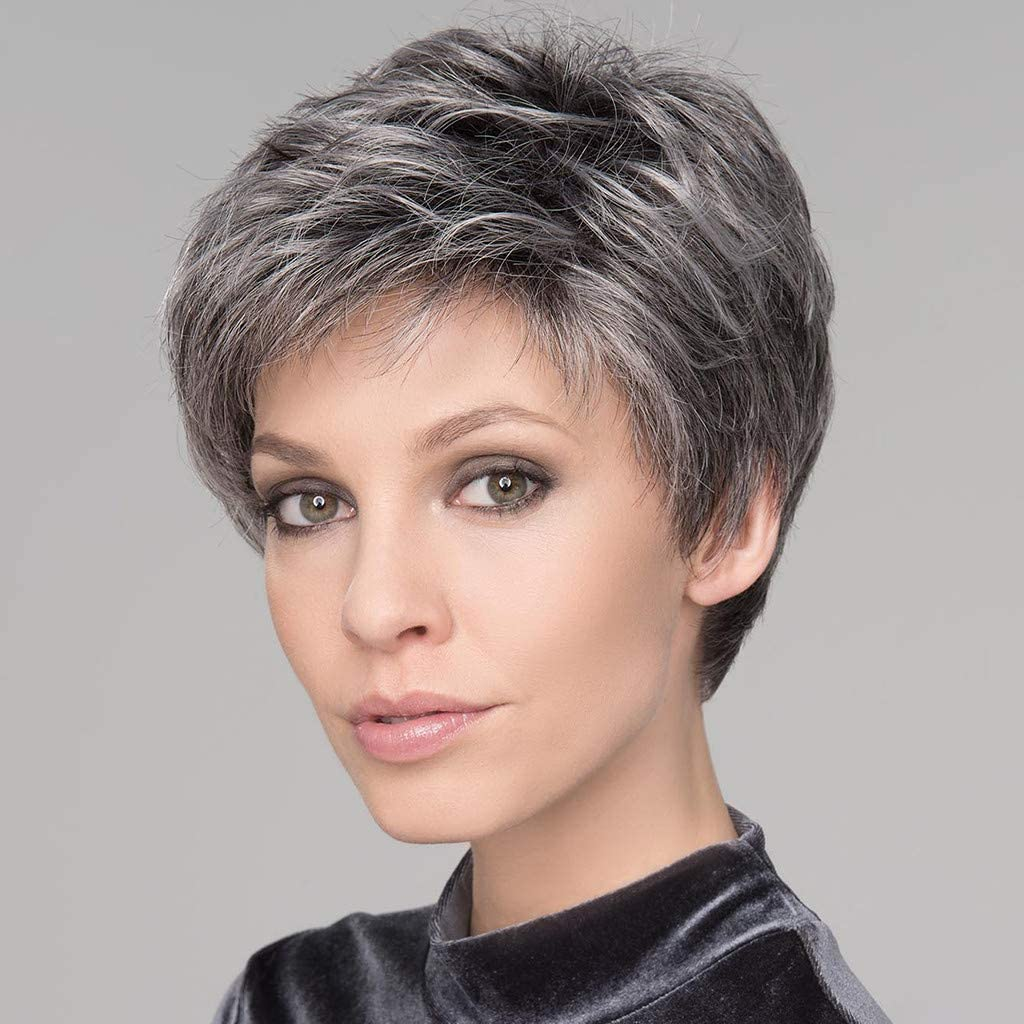 Amazon Com Wigs For Old Women Synthetic Wigs Mixed Real Hair Gray Wig Curly Wavy Wig Natural Short Wig Fashion Hairs Prettylkoezi Grey Beauty