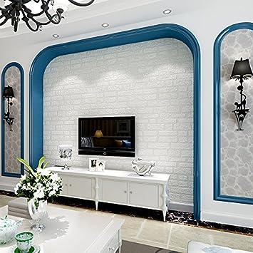PEIWENIN American Style White Wallpaper 3D Nonwoven Stoff Tapete  Schlafzimmer Wohnzimmer TV Wandaufkleber