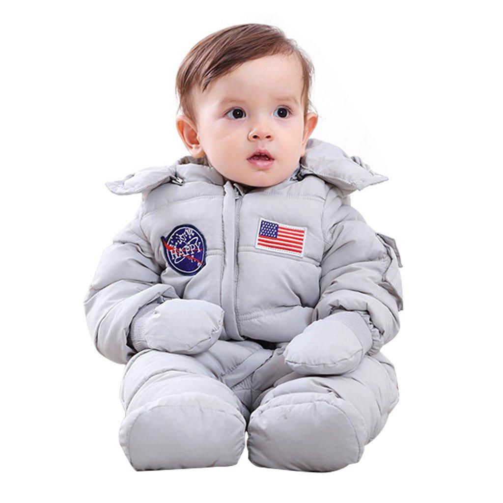 Trajes de Nieve para Bebés Mamelucos con Capucha, Trajes de Invierno Monos para Niños y Niñas 3pcs