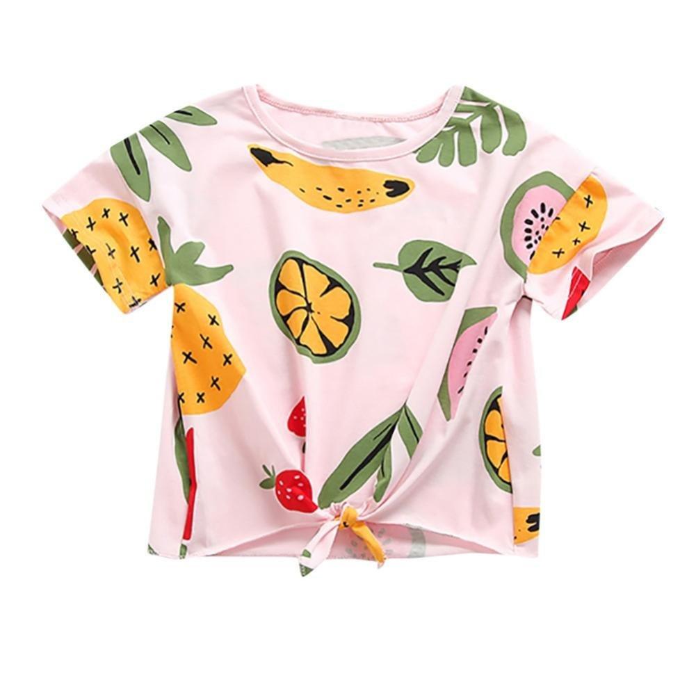 Fineser Baby Girls Fruit Print Tie Front Knot Short Sleeve T-Shirt Tops Kids Summer Casual Tees