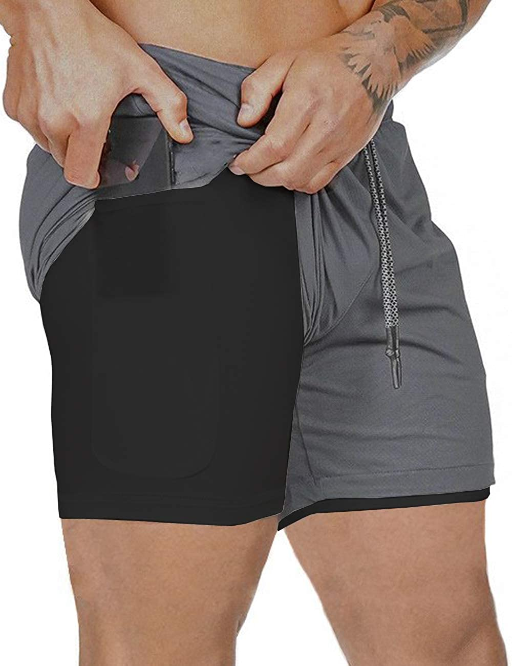 Gafeng Mens 2 in 1 Running Shorts Workout 5 Inch Mesh Gym Training Sport Light Quick Dry Pants with Phone Pocket