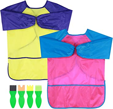 Toyvian Kids Art Aprons 2 Pack Children Smocks Waterproof Artist Painting Long Sleeve with with 3 Roomy Pockets for Age 2-6 Years Bonus 4PCS Painting Tools Rosy Red + Yellow