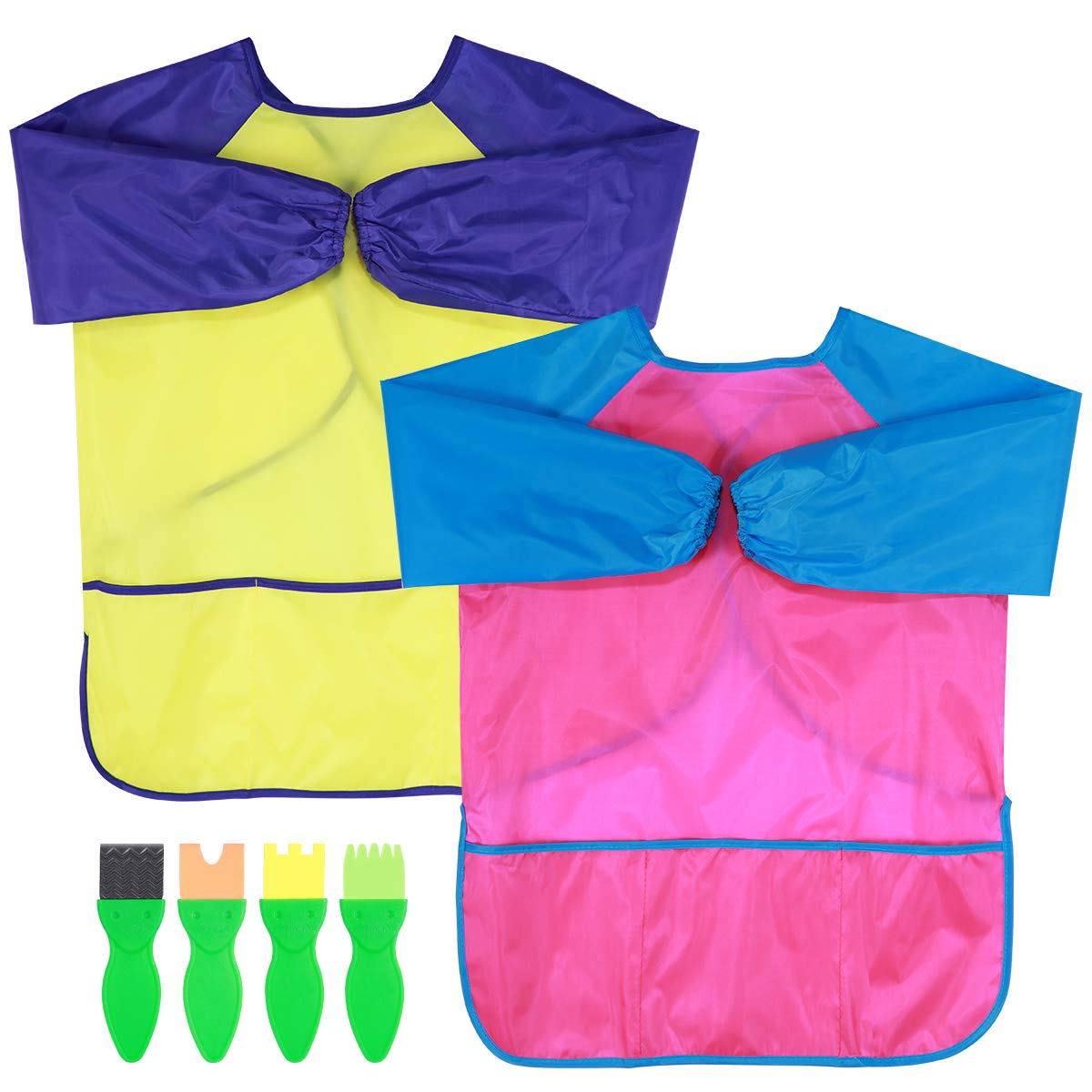 Rosy Red + Yellow Toyvian Kids Art Aprons 2 Pack Children Smocks Waterproof Artist Painting Long Sleeve with with 3 Roomy Pockets for Age 2-6 Years Bonus 4PCS Painting Tools