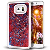 Samsung Galaxy S7 Edge case,Crosstree Liquid, Appmax Cool Quicksand Moving Stars Bling Glitter Floating Dynamic Flowing Case Liquid Cover for galaxy s7 edge. (Star Red)