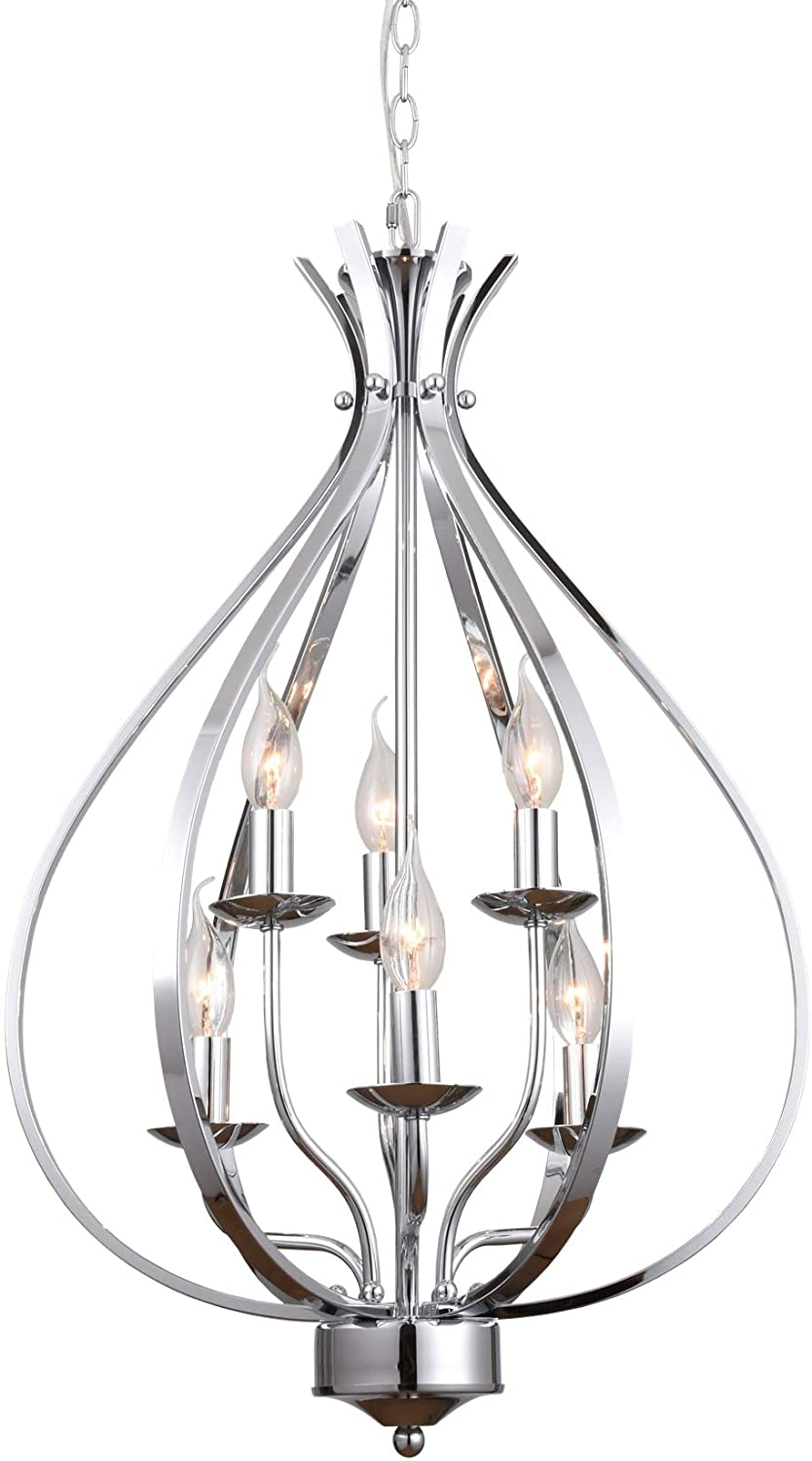 ALICE HOUSE 6 Light Entryway Chandelier, Chrome Foyer Lighting Fixture, Dining Room Pendant Light with 72 Chain AL13091-H6