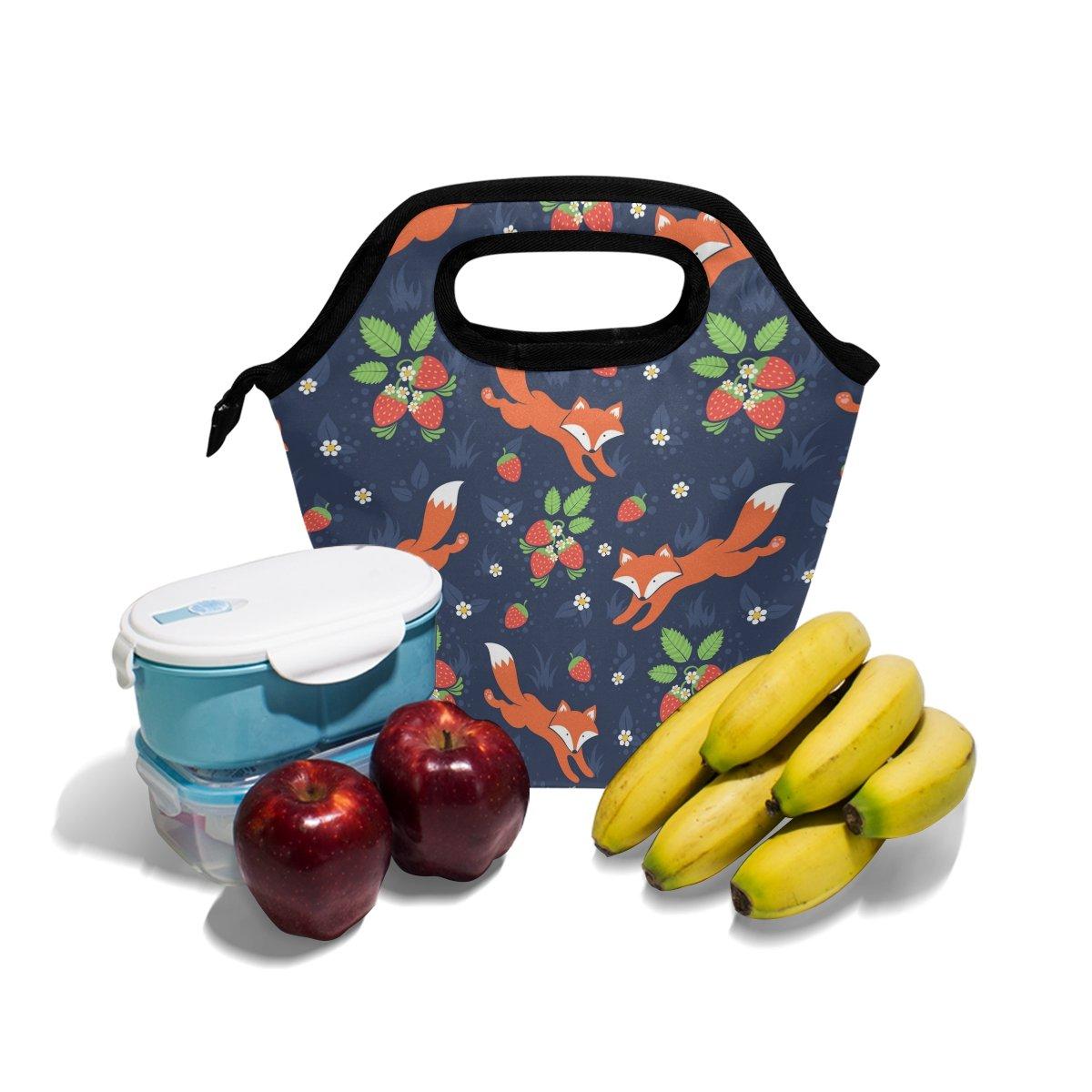 hunihuni Fox Strawberry Isolierte Thermo Lunch K/ühltasche Tote Bento Box Handtasche Lunchbox mit Rei/ßverschluss f/ür Schule B/üro Picknick
