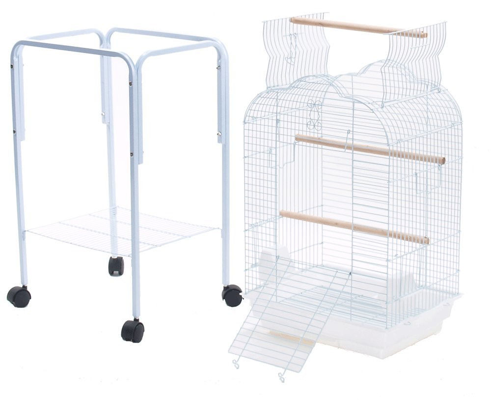 Parakeet Cockatiel Playtop Metal Bird Cage with Stand 18 By 14 By 57 Inch H White Reliance Cages Inc 18145773SAT