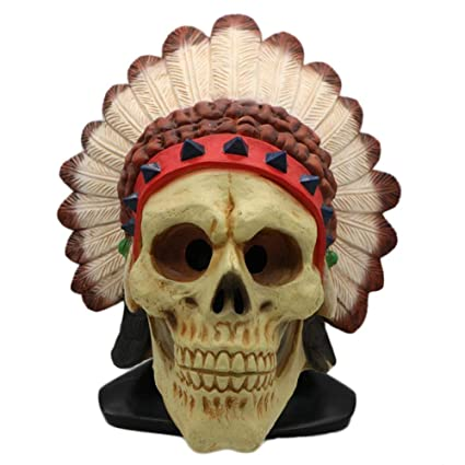 QQWE Indios Plumas Indígenas Africanas Máscara Indígena Halloween Horror Muerte Sombreros De Látex Tricky Scary Cosplay