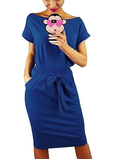 Minetom Vestido Casual Mujer Manga Corta Verano Elegante Ropa de Vestir Oficina Fiesta Noche Cintura Alta