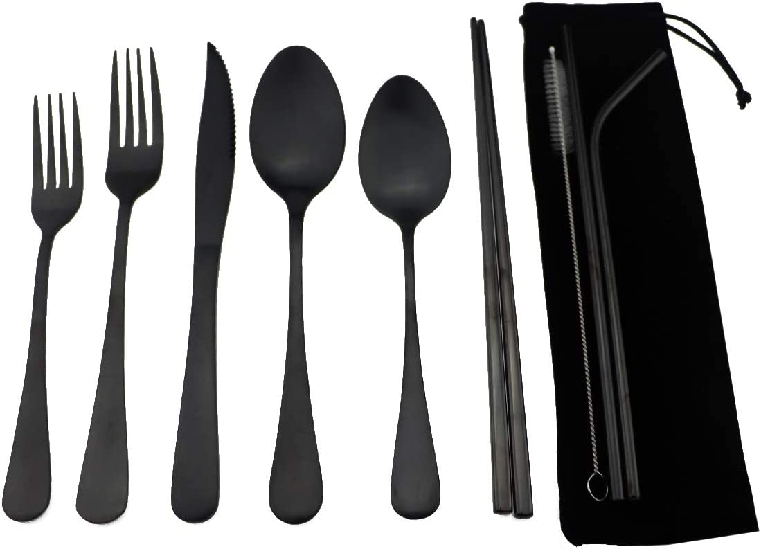 6 Pcs Portable Stainless Steel Travel Camping Outdoor Utensil Cutlery Set Flat