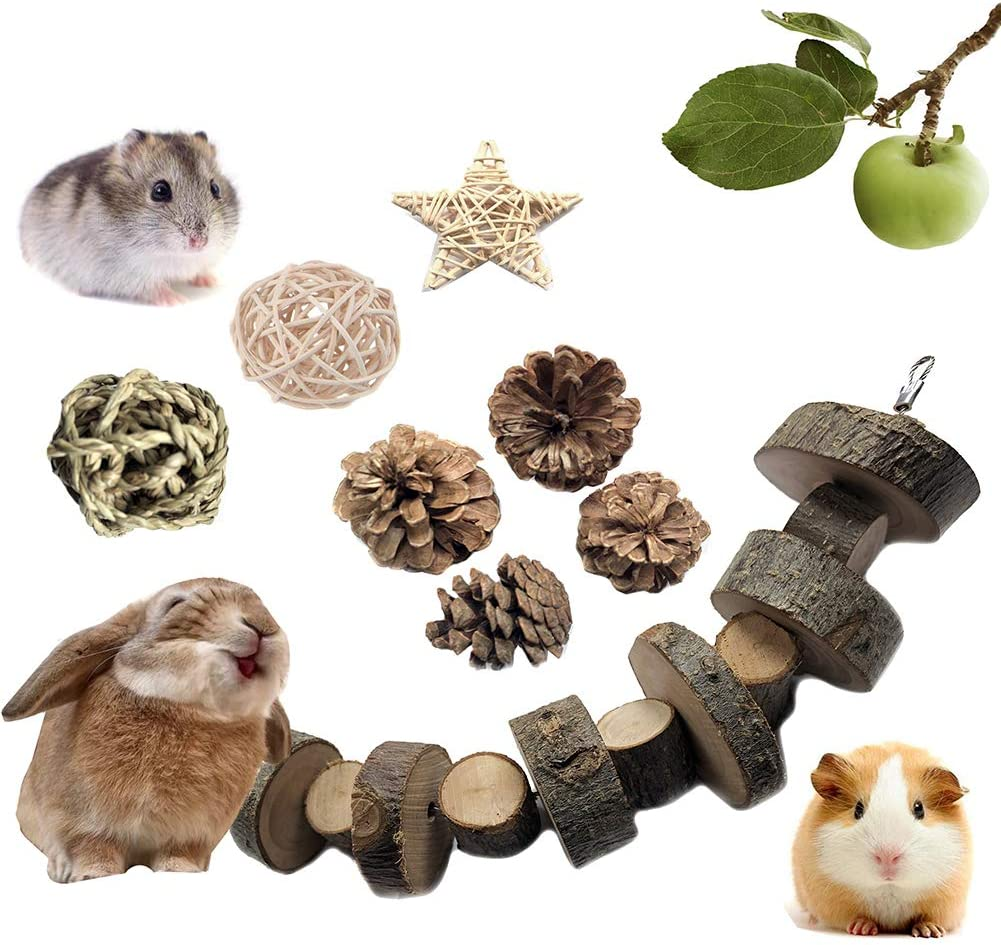 VCZONE Bunny Chew Toys, Rabbit Pet Tooth Chew Toys Organic Natural Apple Wood Grass Cake Ideal for Bunny, Chinchilla, Guinea Pigs, Hamsters Teeth Grinding