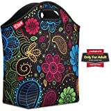yookee home Large Neoprene Lunch Tote, 14'' x 14'' x 5.5'' Women Neoprene Lunch Box Thick Waterproof Insulated Lunch Bag for Work Outdoor Picnic, Colorful Paisley