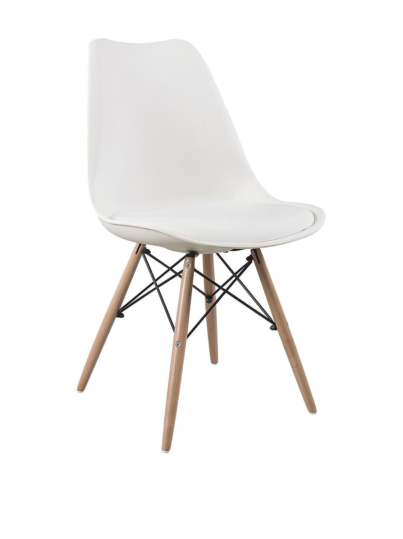 Lo+DeModa Wooden Cushy Set di 2 Sedia, Acciaio/Gommapiuma D20/Faggio/Polipropilene/Poliuretano, Arancione, 60x50x5.5 cm BAZ016 BAZ016_16