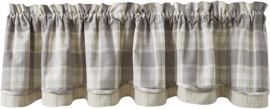 Park Designs Weathered Oak Plaid Lined Layered Valance 72 x 16