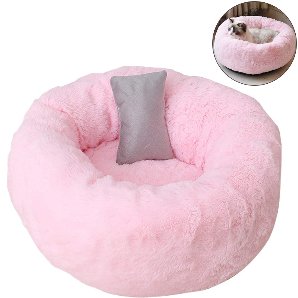 TINTON LIFE Luxury Plush Pet Bed with Pillow for Cats Small Dogs Round Donut Cuddler Oval Cozy Self-Warming Cat Bed for Improved Sleep, Pink S