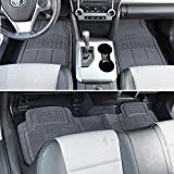BDK ProLiner Heavy Duty Rubber Auto Floor Mats Liner for Auto - All Weather 3 Piece Set (Gray)