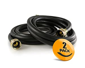 2-Pack Rubber Washing Machine Hoses 6ft Long - Hot and Cold Water Supply Hoses for Washing Machines
